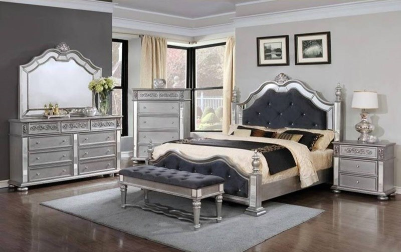 Basora Platinum Bedroom Set 712212 Dallas Designer Furniture