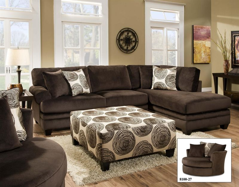 Swirl Sectional Sofa in Chocolate