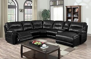Nevada Reclining Sectional in Black
