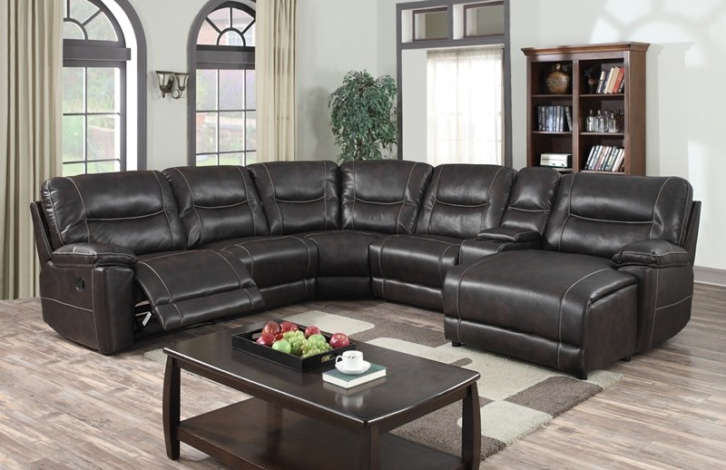 Nevada Reclining Sectional in Brown