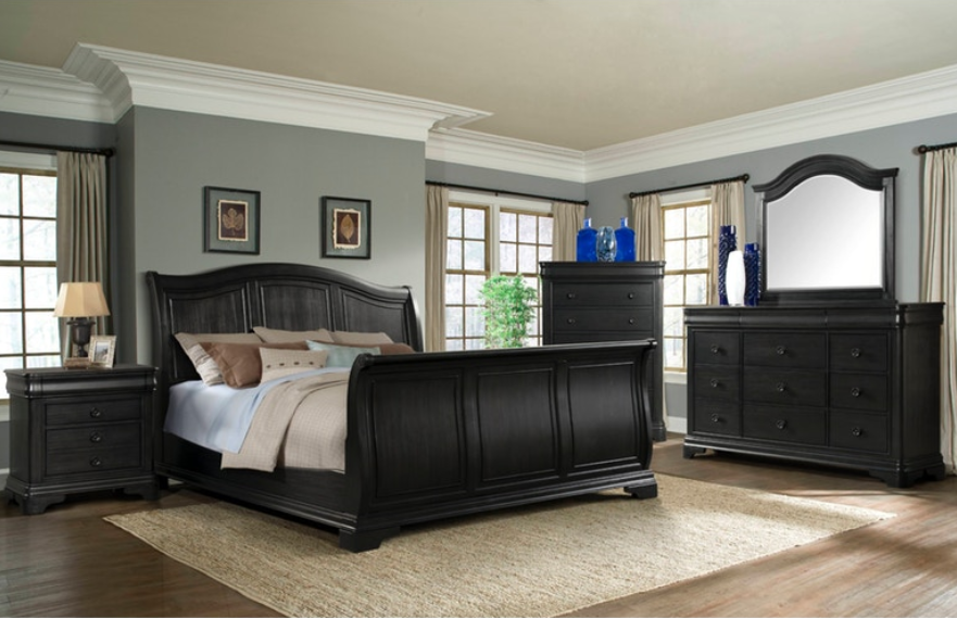 Cameron Bedroom Set with Charcoal Sleigh Bed