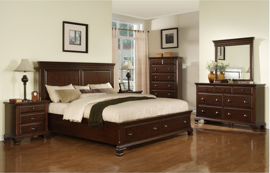 Canton Cherry Bedroom Set with Storage Bed