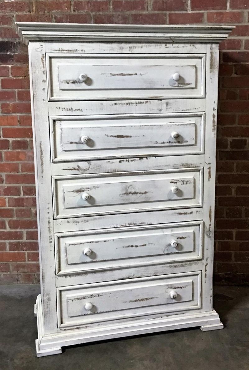 Chalet White Padded Rustic Bedroom Set