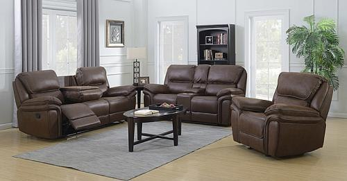 Nash Reclining Living Room Set in Chocolate