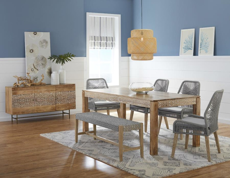 Sorrel Dining Room Set with Woven Chairs and Bench