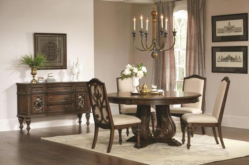 Coaster   122250 Ilana Formal Round Dining Room Set in Java   Dallas ...