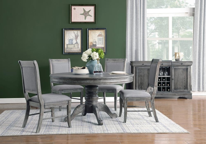 Darcy Round Formal Dining Room Set in Stainless Steel