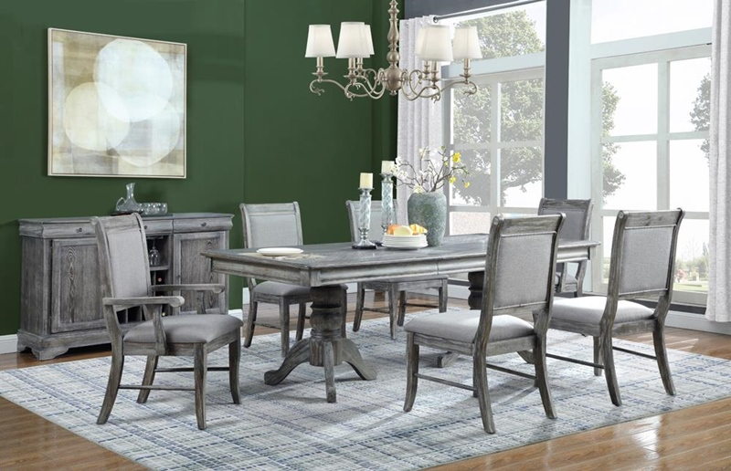 Darcy Formal Dining Room Set in Metallic Platinum