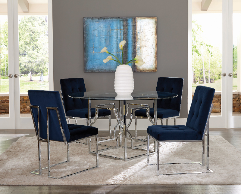 Starlight Round Dining Room Set in Chrome