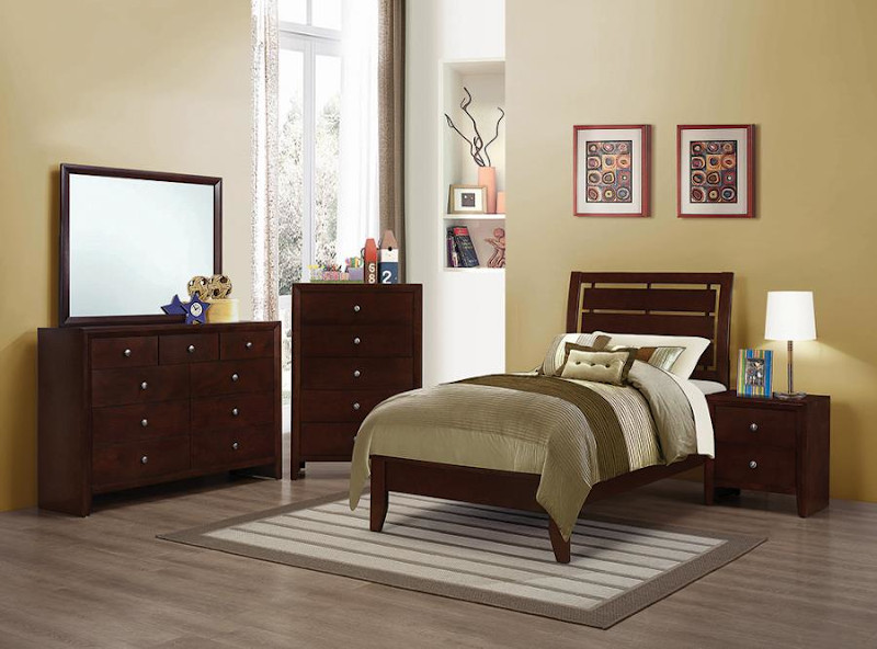 Serenity Youth Bedroom Set in Merlot