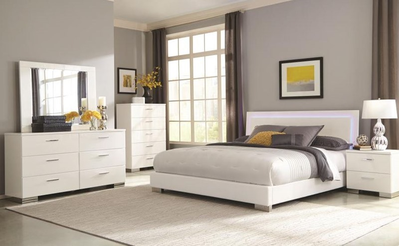 Felicity Glossy White Bedroom Set with LED Lighting