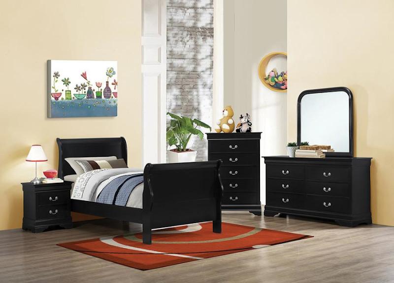 Louis Philipe Youth Bedroom Set in Black