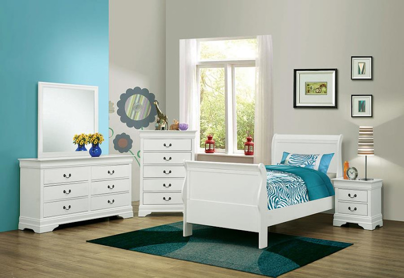 Louis Philipe Youth Bedroom Set in White