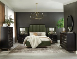 Formosa Bedroom Set in Dark Moss Velvet