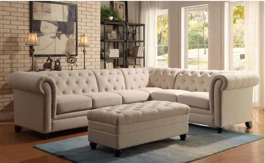 Roy Sectional Sofa in Oatmeal Linen