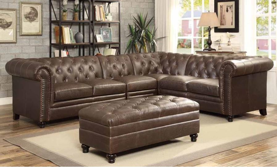 Roy Sectional Sofa in Leather