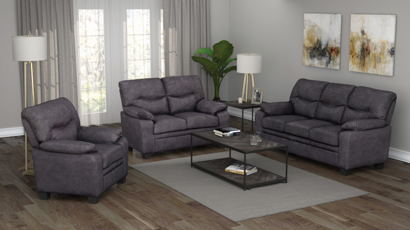 Meagan Living Room Set in Charcoal