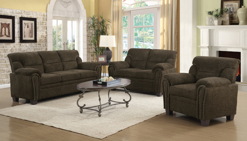 Clementine Living Room Set in Brown