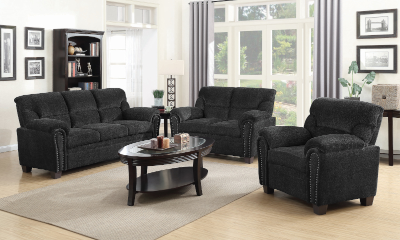 Clementine Living Room Set in Graphite