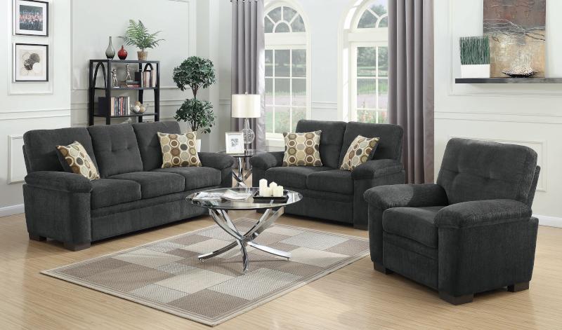 Fairbairn Living Room Set in Charcoal