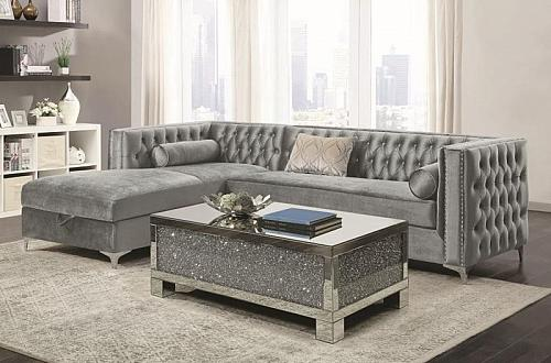 Bellaire Sectional Sofa in Silver