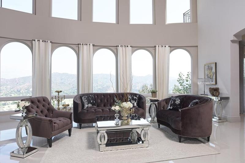 Avonlea Living Room Set in Chocolate Brown