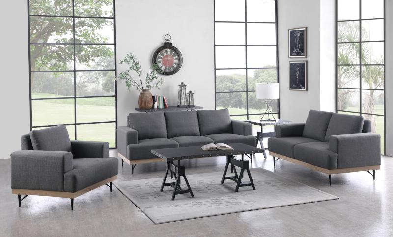 Kester Living Room Set in Charcoal