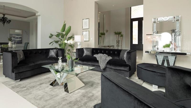 Caldwell Living Room Set in Black