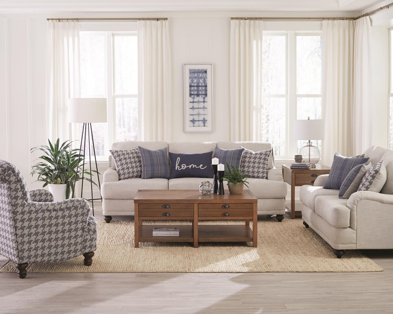 Glenn Living Room Set in Light Grey/Blue