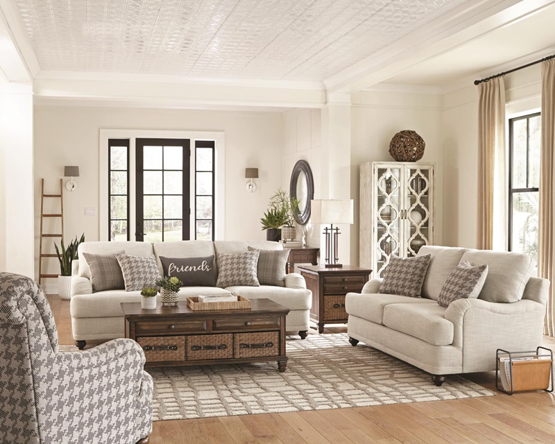 Glenn Living Room Set in Light Grey/Grey