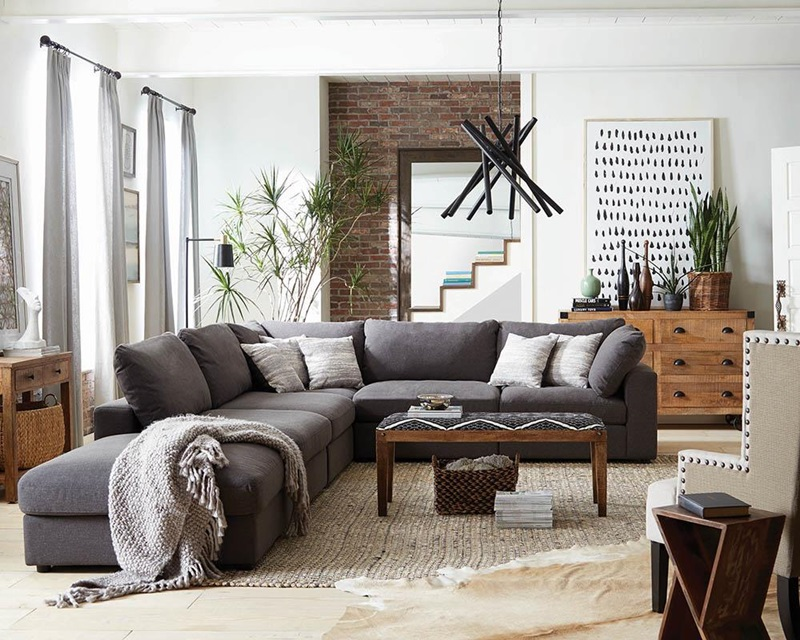 Serene Living Room Sectional in Charcoal Grey