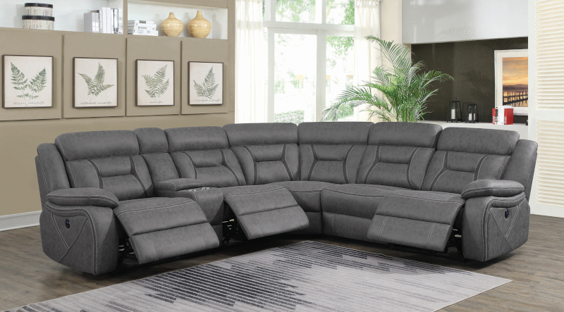 Higgins Power Reclining Sectional in  Grey