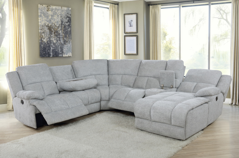 Belize Reclining Sectional in Grey