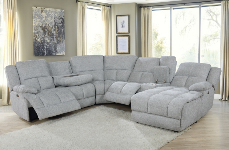 Belize Power Reclining Sectional in Grey