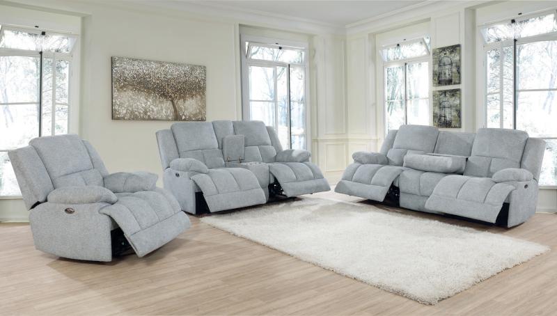 Waterbury Power Reclining Living Room Set in Grey