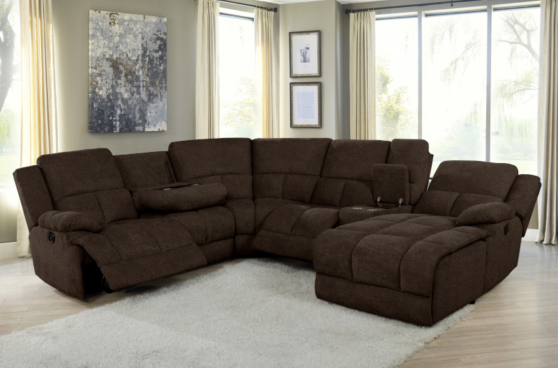 Belize Reclining Sectional in Brown