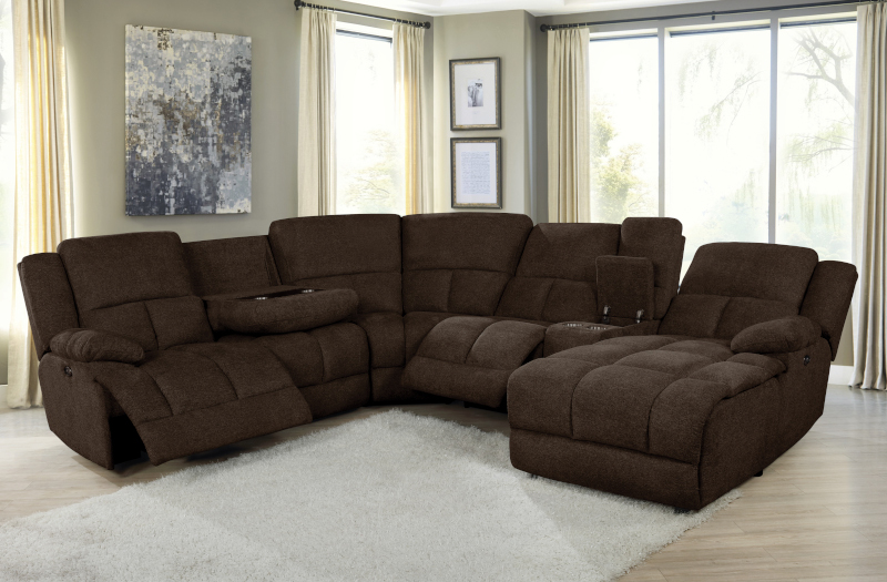 Belize Power Reclining Sectional in Brown