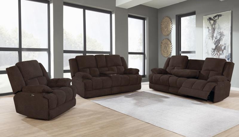 Waterbury Power Reclining Living Room Set in Brown