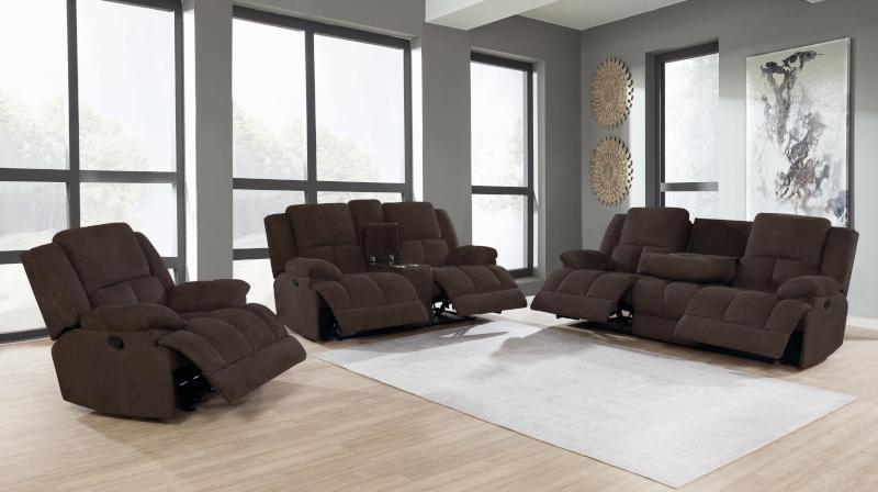Waterbury Reclining Living Room Set in Brown