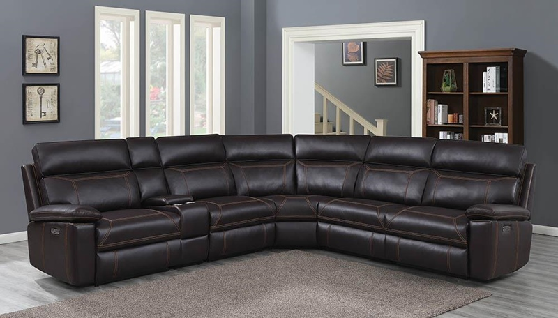 Albany Living Room Sectional in Brown