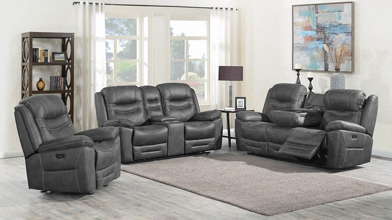 Hemer Power Motion Living Room Set in Dark Grey