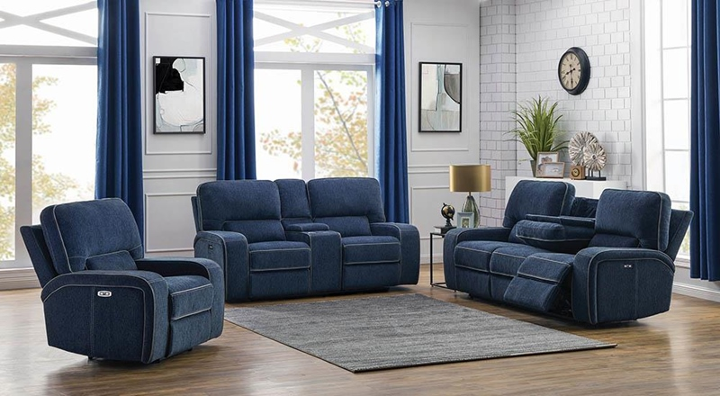 Dundee Power Motion Living Room Set in Navy Blue