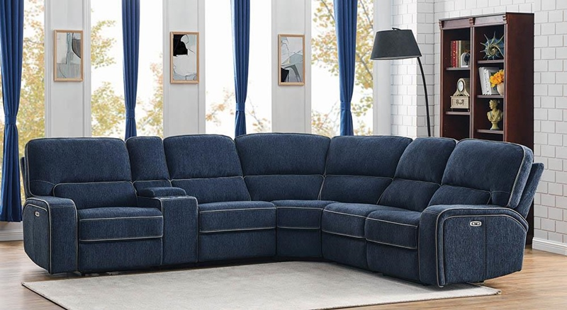 Dundee Living Room Sectional in Navy Blue