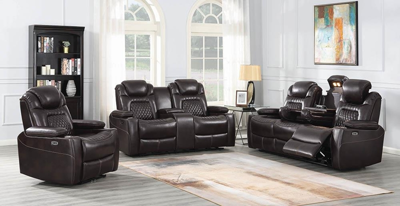 Korbach Power Motion Living Room Set in Espresso