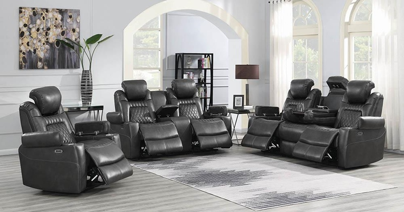 Korbach Power Motion Living Room Set in Charcoal