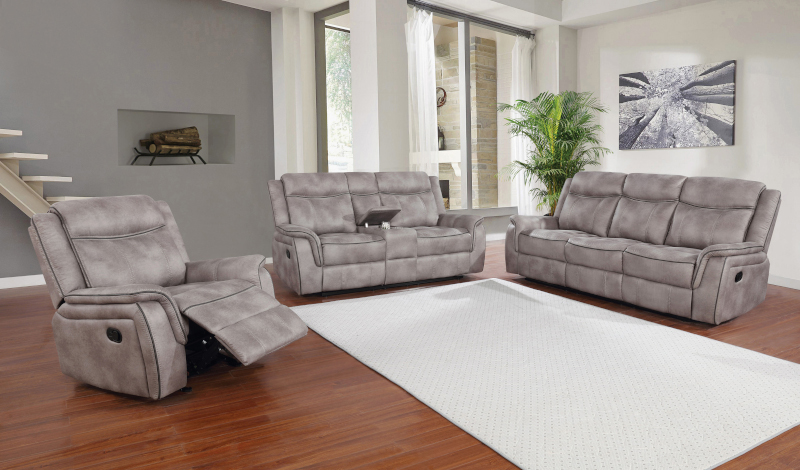 Lawrence Reclining Living Room Set in Taupe