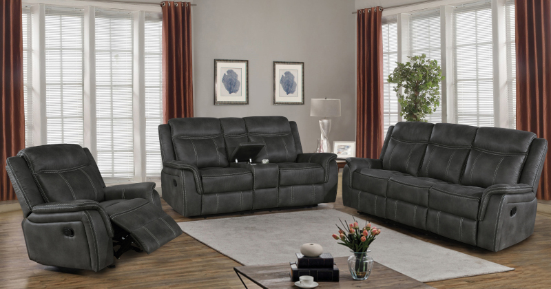 Lawrence Reclining Living Room Set in Charcoal