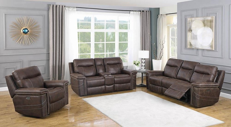 Wixom Power Motion Living Room Set in Brown