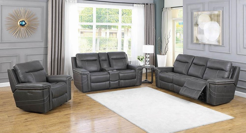 Wixom Power Motion Living Room Set in Charcoal