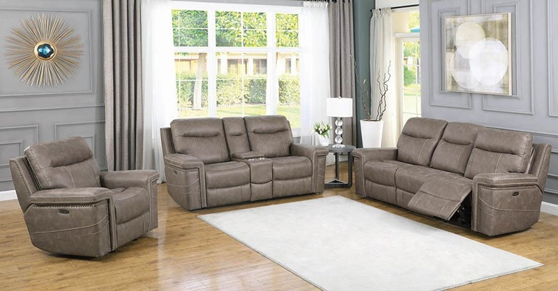 Wixom Power Motion Living Room Set in Taupe